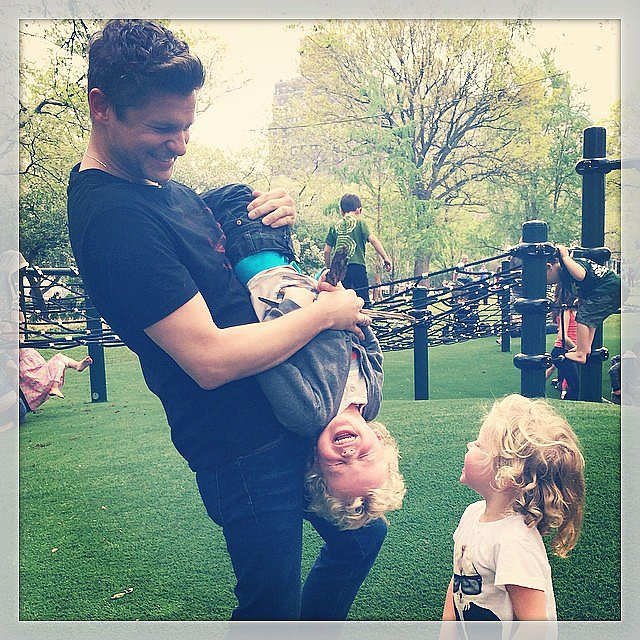 Neil Patrick Harris shared this snap of his partner, David Burtka, goofing around with their twins. Source: Instagram user instagranph