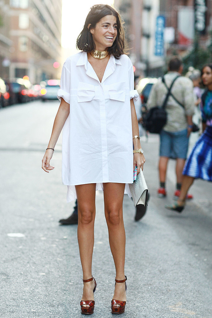 The effect is a little like borrowing your guy's oversize button-down — how sexy is Leandra Medine's shirtdress?