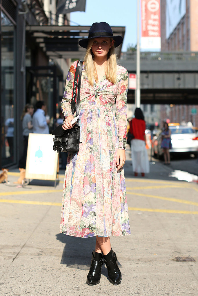 Keep it boho with a printed maxi, a fedora, and walkable boots.