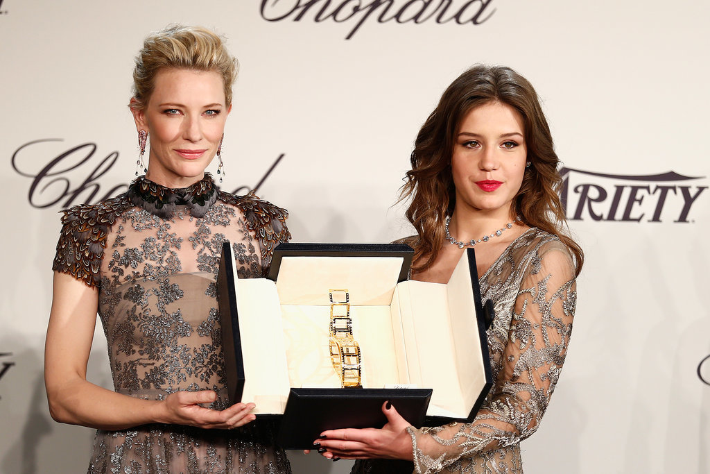 Cate Blanchett and Adèle Exarchopoulos posed on stage at the Chopard Trophy event.