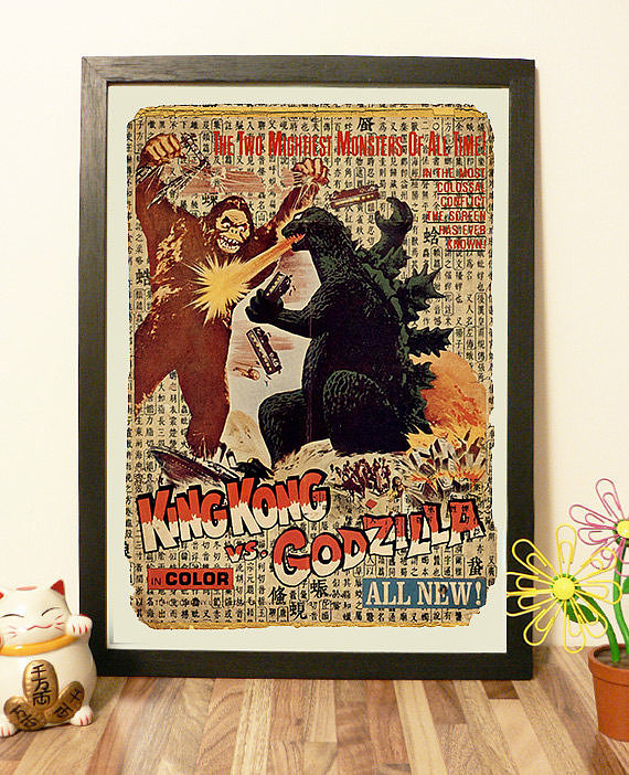 This 1962 King Kong vs. Godzilla movie poster print from AKANEshop is a truly vintage treasure ($12 for small, $14 for large).