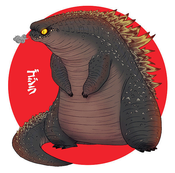 Admit it, you think this rotund, slightly overweight version of Godzilla by Olivier Silven ($15-$32 for various sizes) is kind of cute, and there's a small part of you that wants to take him home.
