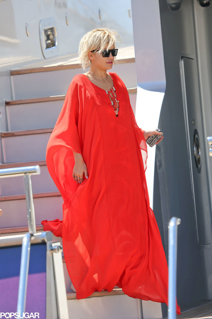 Rita Ora got comfy aboard Roberto Cavalli's yacht in Cannes, France, on Saturday.