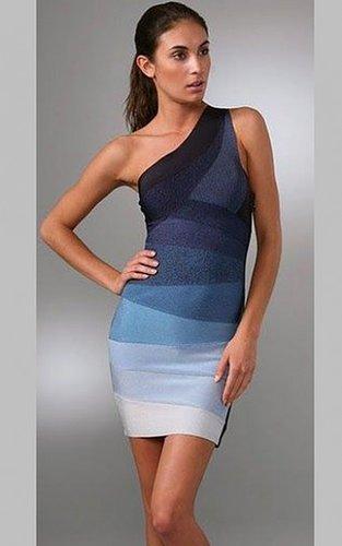 Herve Leger Asymmetrical Neck Blue Ombre One Shoulder Bandage Dress
