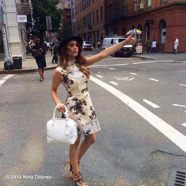 Nina Dobrev hailed a cab in NYC. Source: Instagram user ninadobrev
