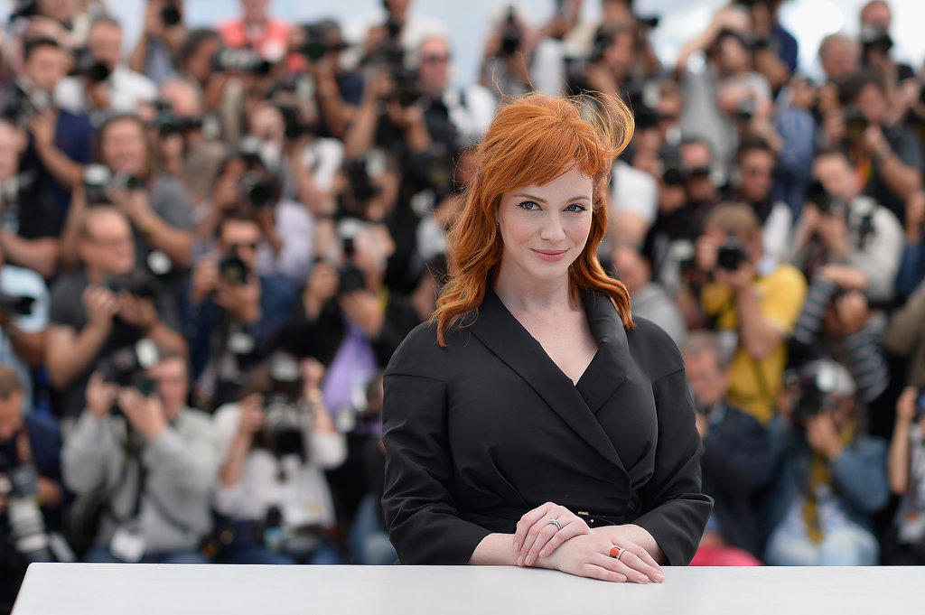 Christina Hendricks popped in a sea of photographers.