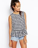 ASOS Gingham Peplum Top