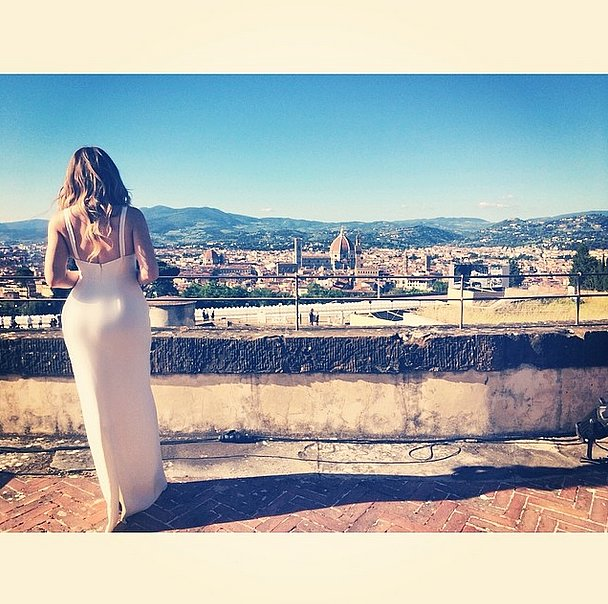 Khloe took in the view from the wedding's location while in her bridesmaid dress.