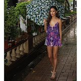 Jamie Chung walked in the rain during a visit to Hong Kong. Source: Instagram user jamiejchung