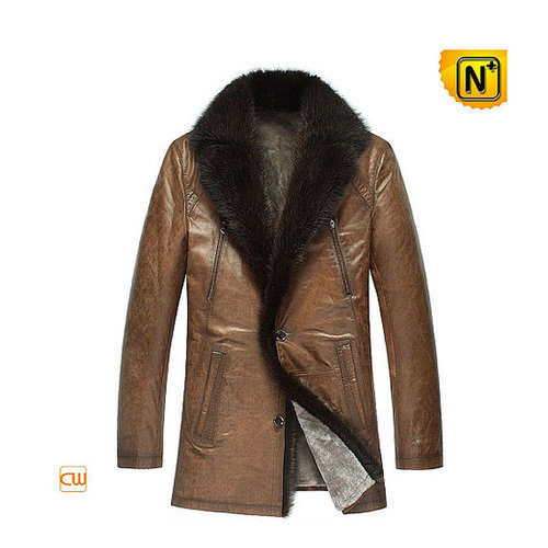 Mens Leather Mink Fur Coat Jacket CW878505