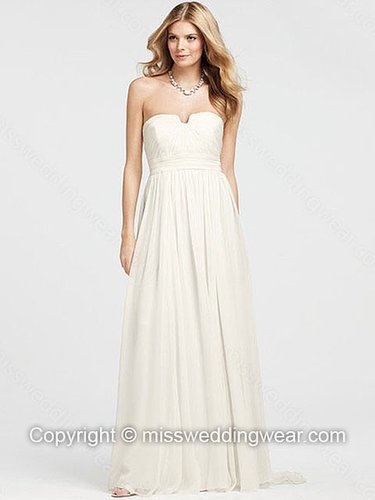 A-line Strapless Chiffon Floor-length White Draped Wedding Dresses