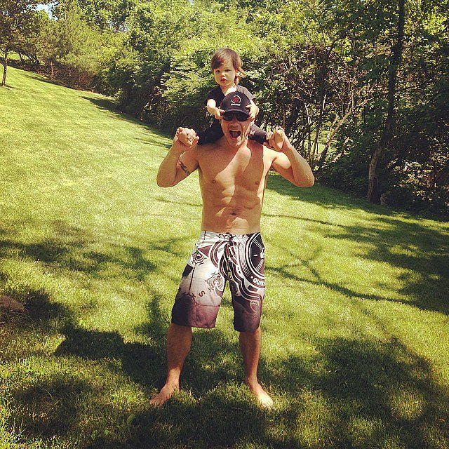 Nick Lachey's son, Camden, got a ride on his shoulders. Source: Instagram user vanessalachey
