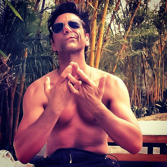 John Stamos did some shirtless meditating in India. Source: Instagram user johnstamos