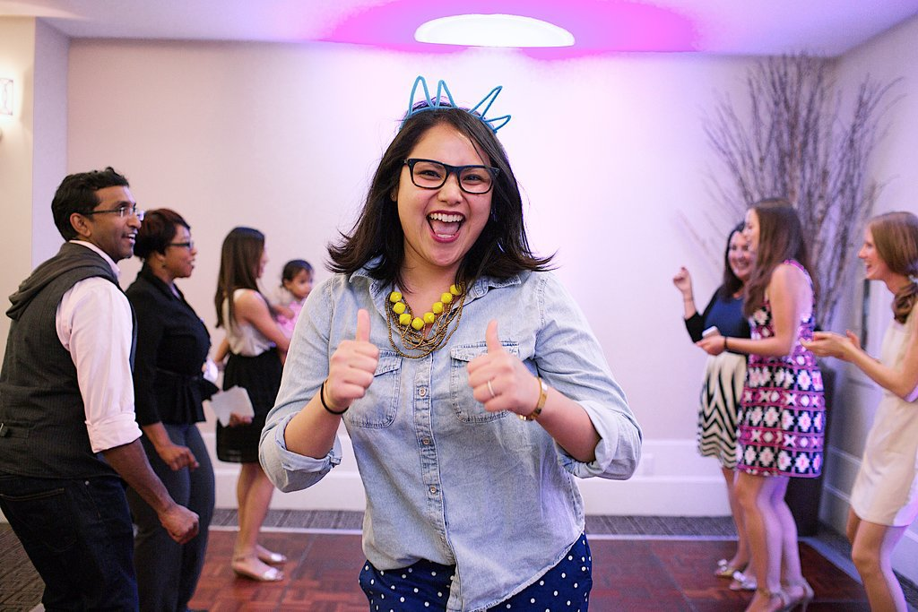 The event's founder, Karla Randolph, gave a thumbs-up during the vendor dance-off. Photo by Ettevy Photography