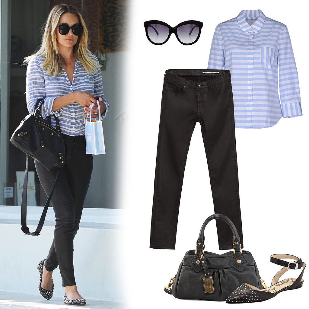 Getting the look is easy. Just add a striped button-down to skinny coated trousers, and style it out with edgier accessories. Look for cat-eye sunglasses, studded flats, and a black satchel with gold hardware to channel Lauren's look. Just scroll to shop all t