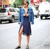Give a sexy slip dress a daytime-appropriate makeover with a jean jacket and pool slides. Source: Instagram user weworewhat