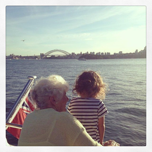 Miranda took a photo of Flynn looking out at the water with her grandmother.  Source: Instagram user mirandakerr
