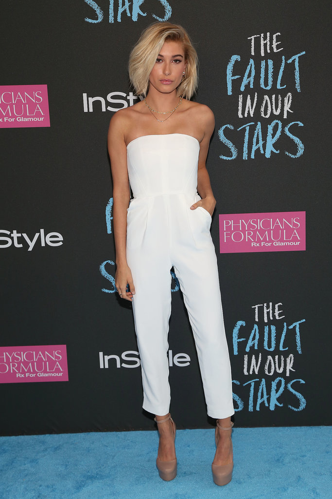 Hailey Baldwin walked the blue carpet.