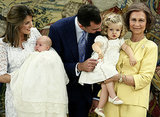 Felipe was sure to give his elder daughter, Princess Leonor, some attention during the christening of his younger daughter, Princess Sofía, in July 2007.
