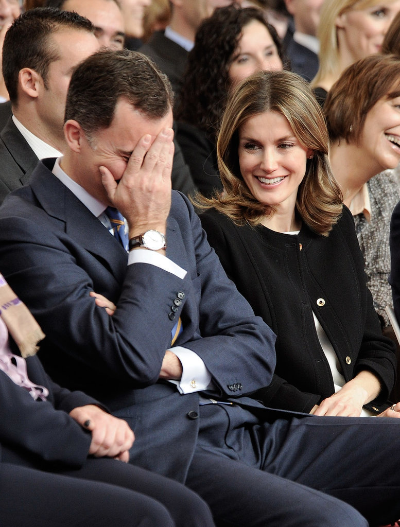 Felipe and Letizia shared a laugh in March 2012 during a special event in Madrid.