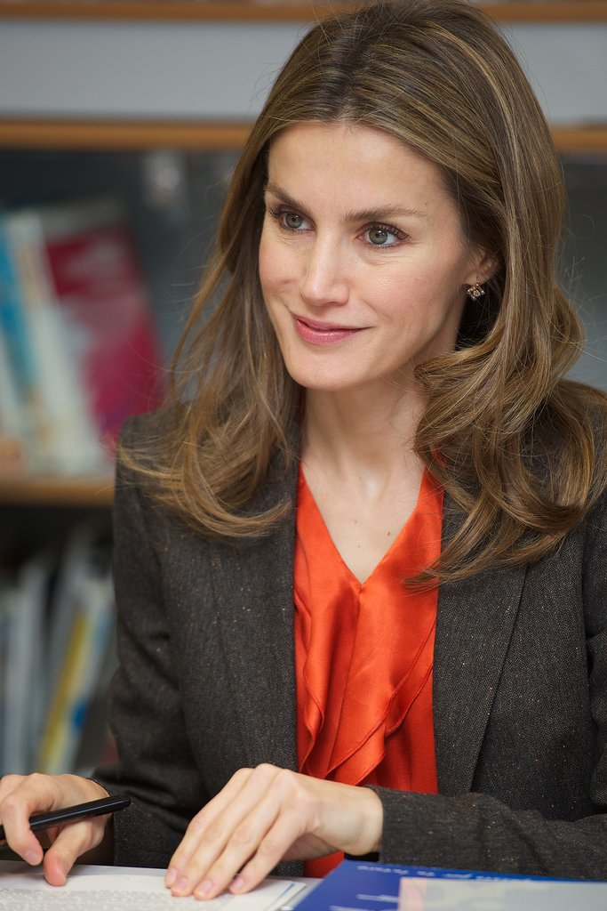 Princess Letizia visited a high school in Burgos, Spain, in October 2012.