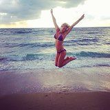 Bar got some serious air on the sand during a beach day in October 2013. Source: Instagram user barrefaeli