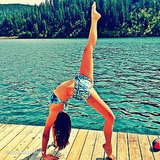 Nina Dobrev did yoga in her bikini. Source: Instagram user ninadobrev