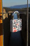 A love lock hung on a bridge overlooking the Corinth canal near the town of Corinth, Greece.