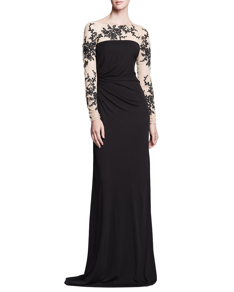 David Meister Long-Sleeve Lace Gown
