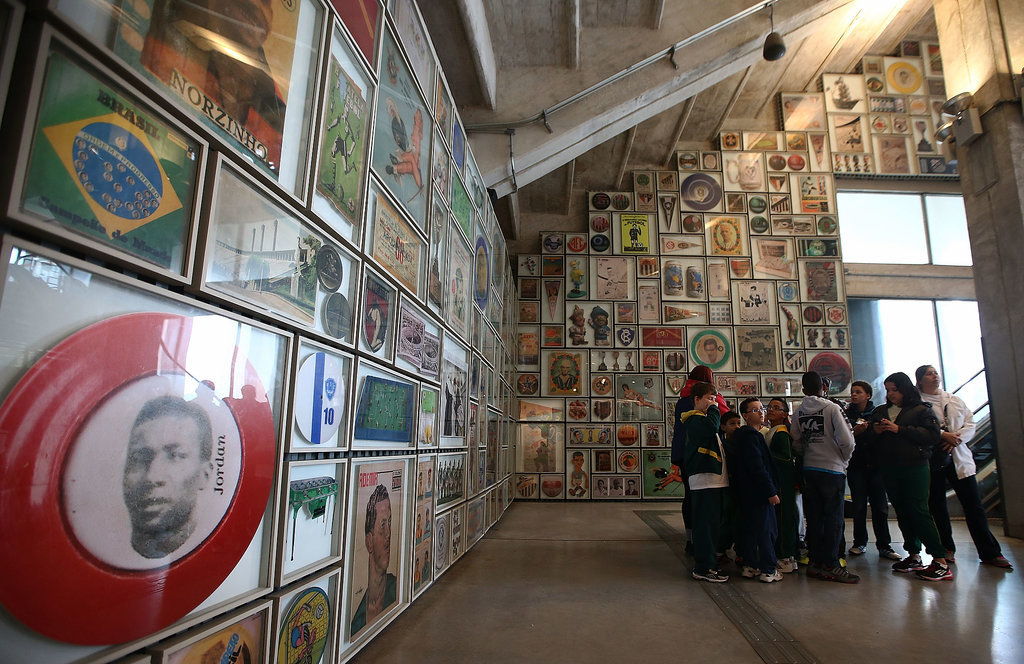 In São Paulo, visitors made their way through the Museum of Football inside Pacaembu Stadium.