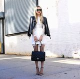 Be both sweet and sexy when you top an ethereal white dress with a tough-girl leather jacket.  Source: Instagram user blaireadiebee