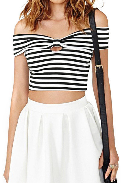 Romwe Striped Off-the-Shoulder Top