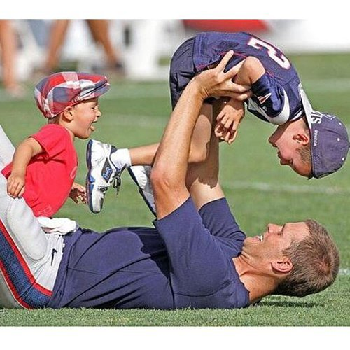 "Gisele Bündchen showed off a fun moment with Tom Brady goofing around with John and Ben on the football field. She wrote, ""Thank you my love for being such a loving and wonderful father. We love you so much!!! Happy Father's Day!"" Source: Instagram user giseleofficial"