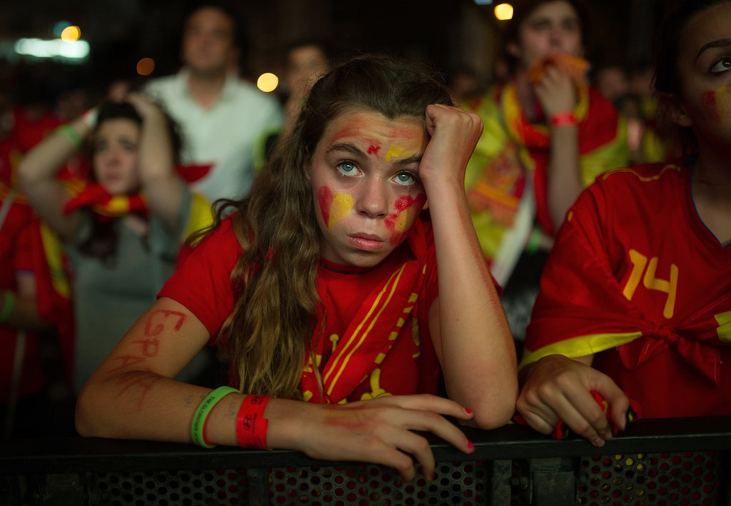 In Madrid, a Spanish soccer fan looked nervous as she watched her team play against the Netherlands.