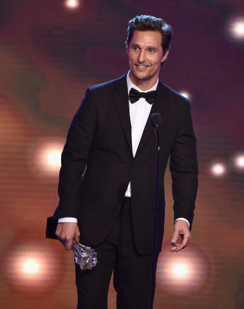 Matthew McConaughey accepted his award onstage at the Critics' Choice Television Awards.