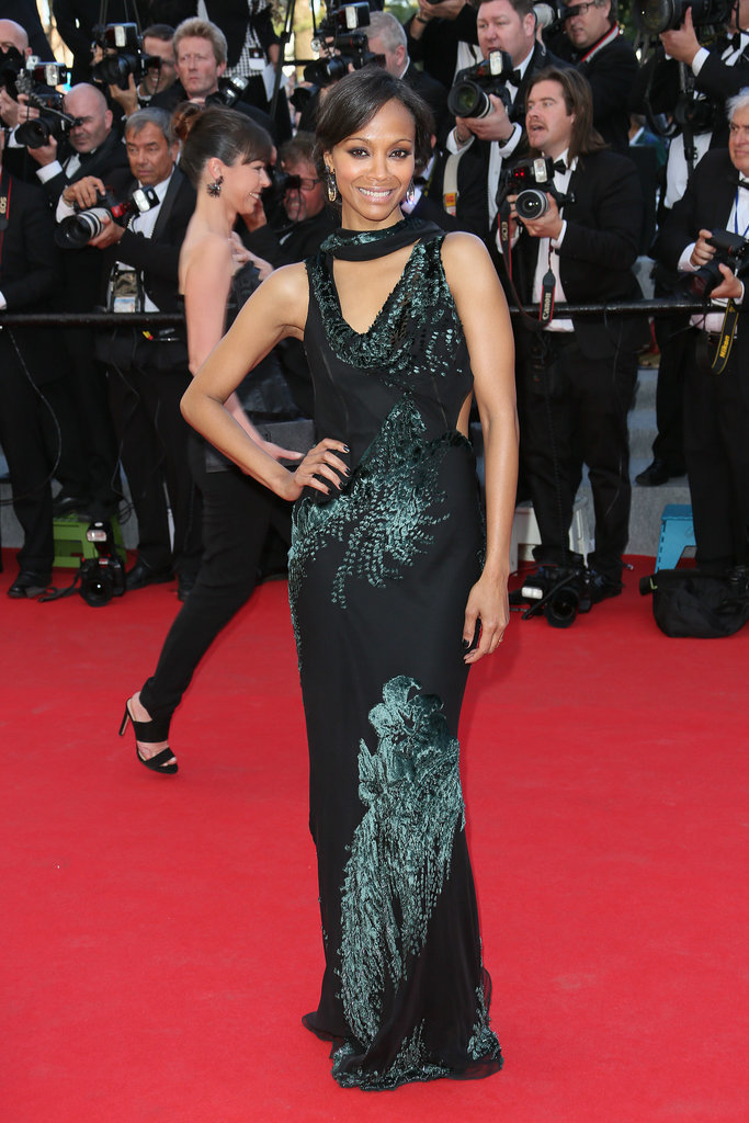 Zoe posed on the Cannes Film Festival red carpet in an embellished Jaso Wu creation.