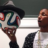 Pharrell Williams gave the Adidas World Cup ball a makeover with one of his signature hats. Source: Instagram user adidas