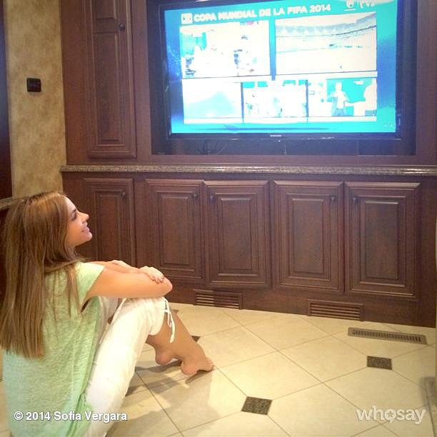 """Got the trailer tv working!!! Vamos Colombia!!!!"" Sofia Vergara wrote while watching all the action. Source: Instagram user sofiavergara"