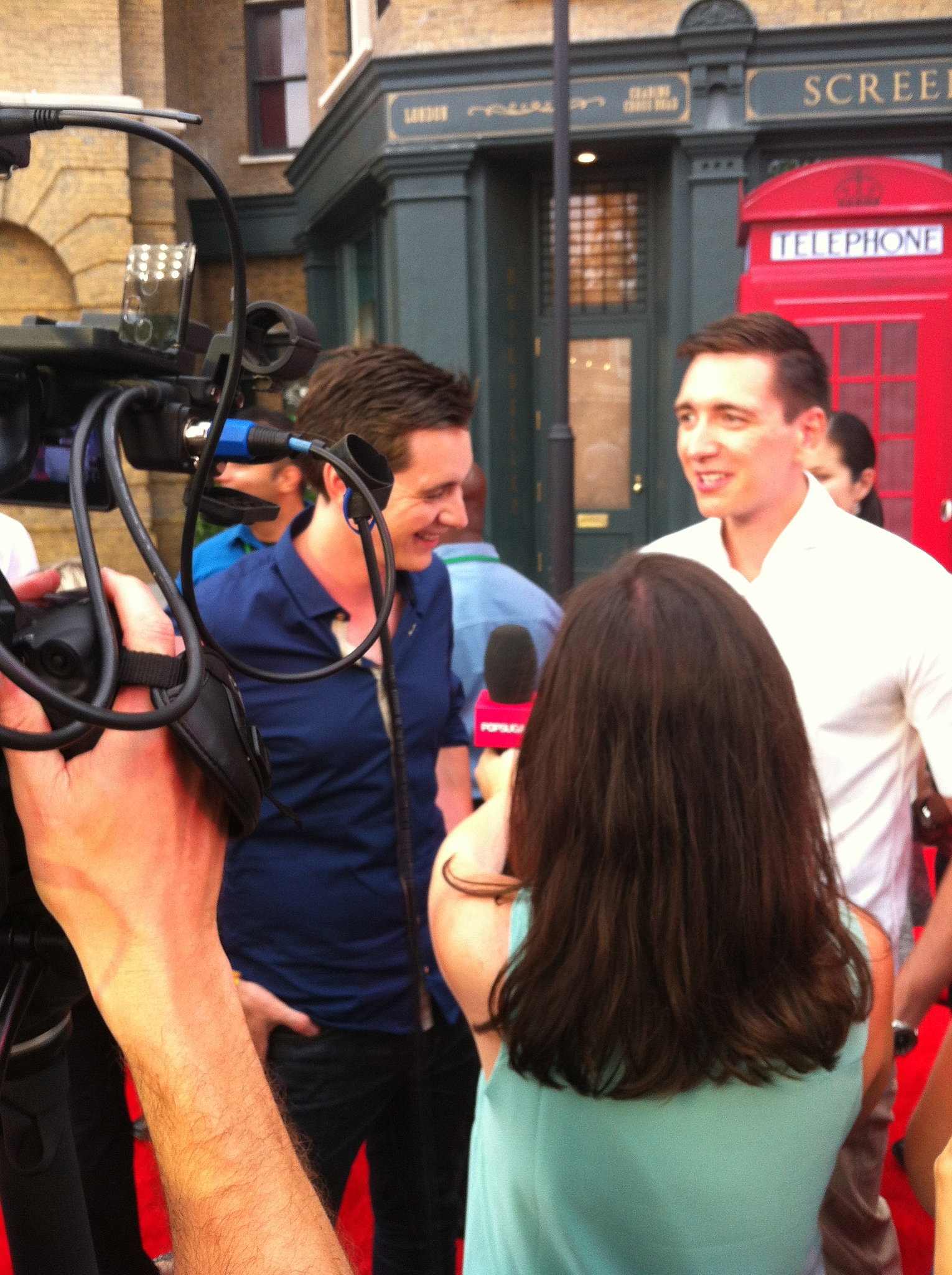 I spoke with James (left) and Oliver Phelps on the r