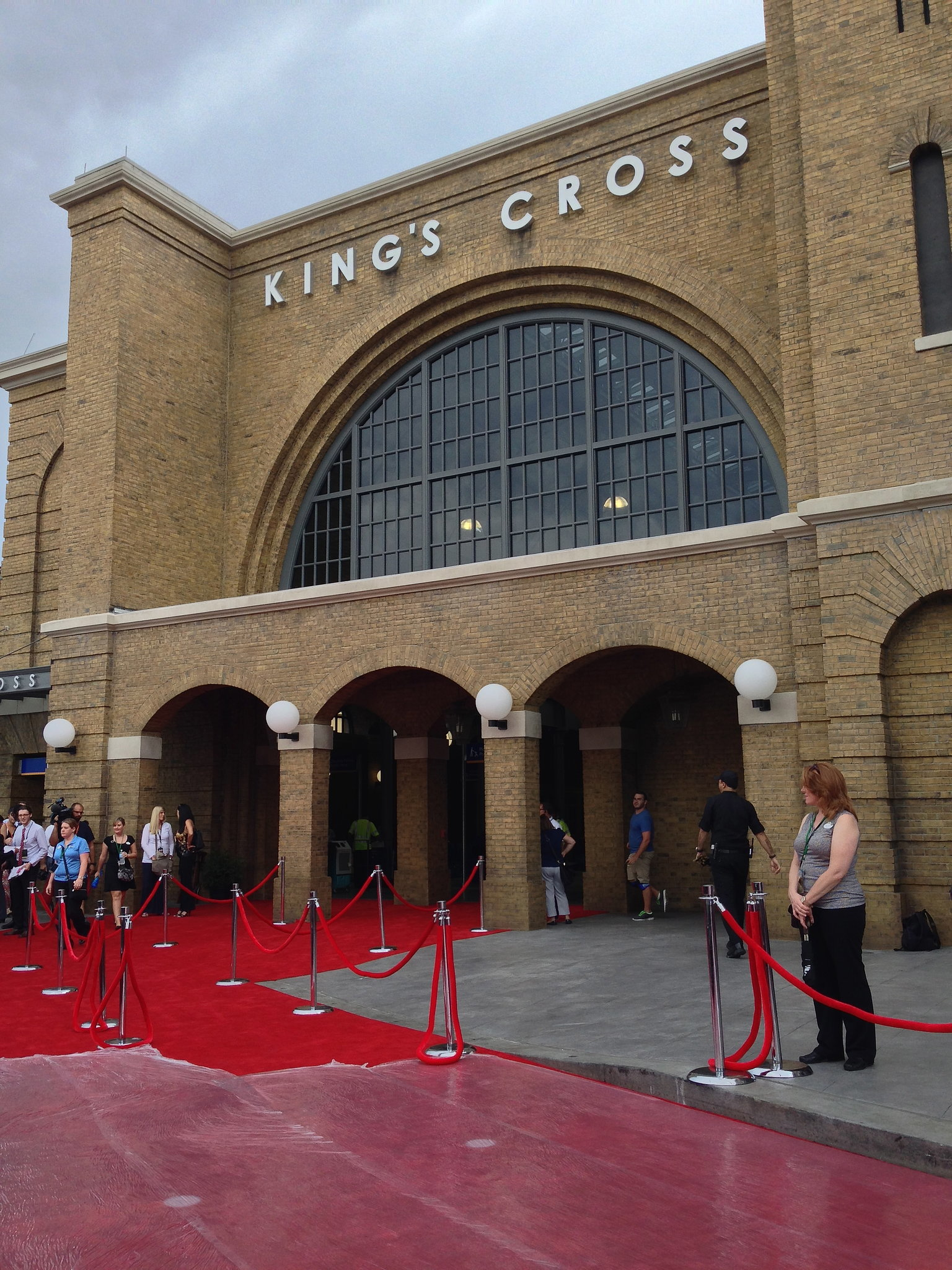 The red carpet in front of King's Cross Station gets prepped for the Harry Potte