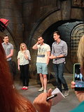 James Phelps, Evanna Lynch, Matt Lewis, and Oliver Phelps take questions from the media.