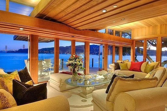 This Belvedere, CA, home has a covetable view of the Golden Gate Bridge.  Source: Bungalux