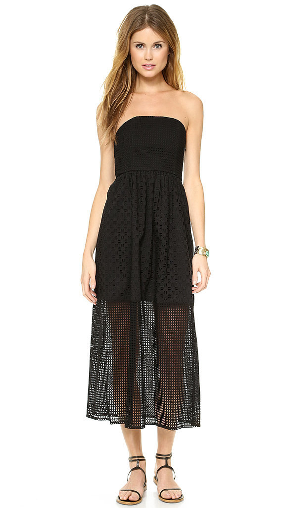 Tibi Black Eyelet Strapless Dress