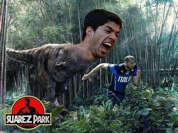 That one time Uruguay player Luis Suárez bit Giorgio Chiellini, Italy defender. Chomp.  Source: Facebook user World Cup Memes