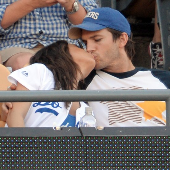 Mila Kunis and Ashton Kutcher Kissing at LA Dodgers Game