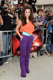 Was this the outfit that marked the beginning of the end for Cheryl's time on the US X Factor? Her coral and purple ensemble was mocked by the press . . . But it was the hair that really got people talking.