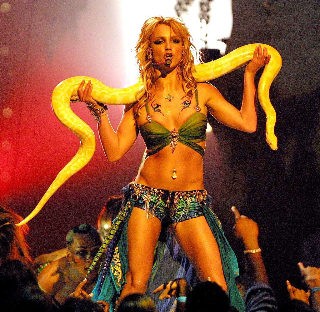 "The good girl image was long gone by the time she donned a skin-tight costume during her performance of ""I'm a Slave 4 U"" at the 2001 MTV VMAs."