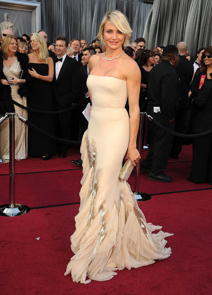 Cameron Diaz looked incredible in a strapless silk crepe Gucci Première gown at the Academy Awards in 2012 — we hope we look this good at 40!