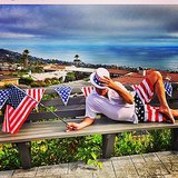 Adam Shankman was surrounded by American flags. Source: Instagram user adamshankman