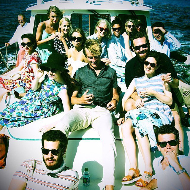 """Portrait of Heaven amongst friends. Taylor, Amanda, Ashley, Dan, Austin, Jessica, Jess, Odeya, Andrew, Emma, Colin, Vicky, Simon & Zac,"" Jaime wrote in the caption. Source: Instagram user jaime_king"